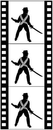 silhouette of Lee Vrooman in a filmstrip as a cowboy relief worker