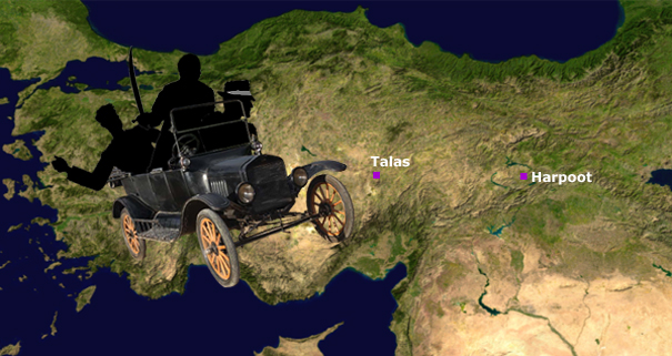 A jalopy with Lee Vrooman crosses the Taurus Mountains