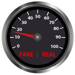 real or fake news odometer showing Fake News