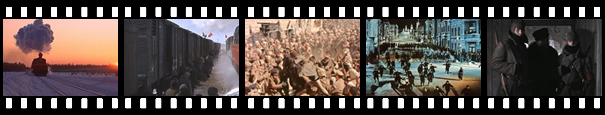 filmstrip of Dr Zhivago stills
