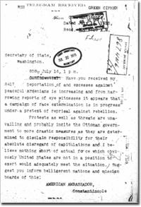 telegram by Morgenthau