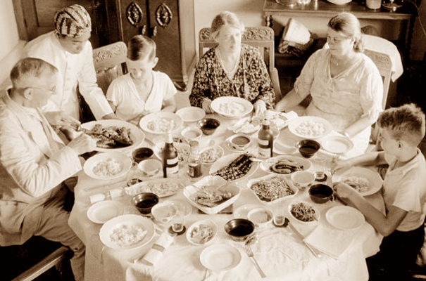 Dutch East Indies family at dinner 1936