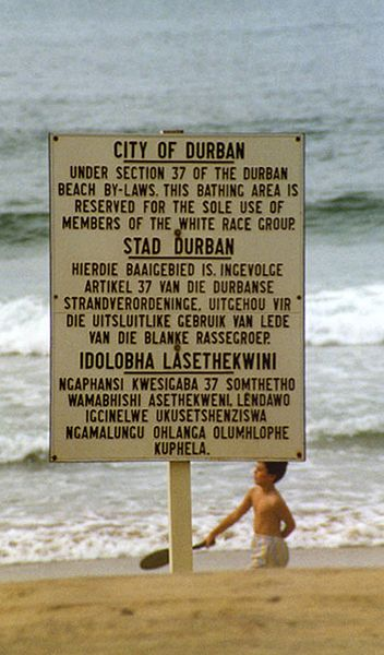 "Durban ""No blacks"" beach sign"