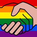 handshake with rainbow background