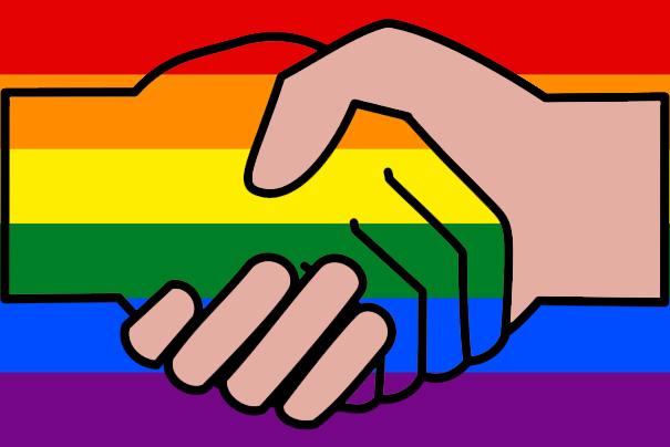 handshake with rainbow background
