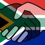 White-Black Handshake and flag of RSA