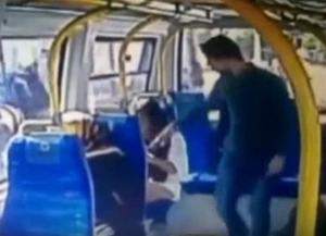 man slapping woman on bus in Istanbul