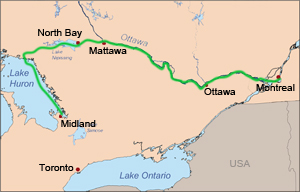 map of route of Canadian Canoe Pilgrimage