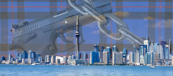 Toronto skyline with gun and chain