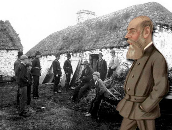 Charles Boycott superimposed on a photo of an eviction in Ireland circa 1880