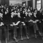 university students in classroom 1919