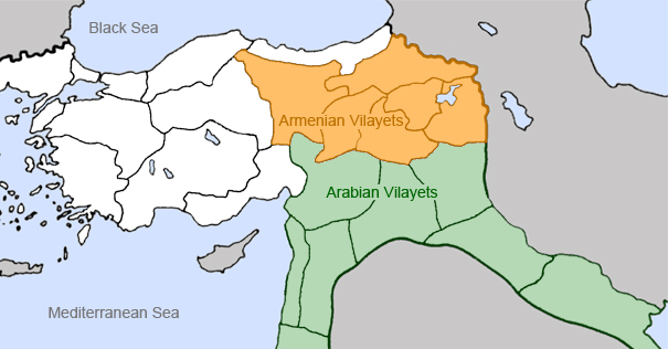 map of Armenianand Arabian vilayets