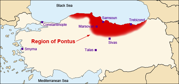 map of Turkey with Pontus region