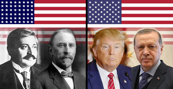 American flags of 1917 and 2017, and 4 leaders
