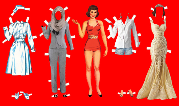 paper doll with many outfits