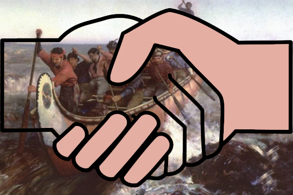 handshake and Canadian voyageurs in a canoe