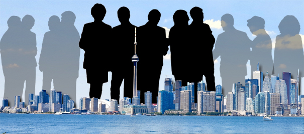 Toronto city skyline with councillors